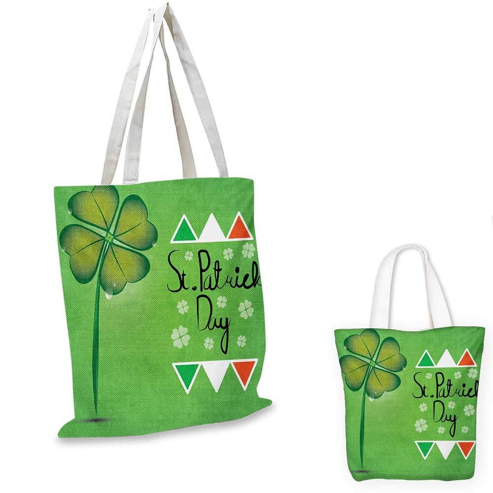Patricks Day canvas messenger bag Irish Owls with Leprechaun Hats on Trees Shamrock Leaves Horseshoe canvas beach bag Green and White St 12x15-10