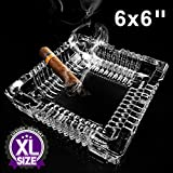 lluzx Ashtray,Square Glass Ashtray for home Indoor and Outdoor Decorative Square Tabletop Ashtray for cigars cigarettes (6 x 6 inch)