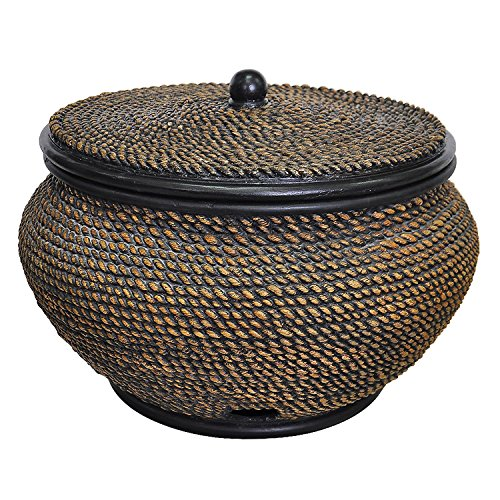 Woven Basket Hose Pot With Lid 22 Wicker Finish Baskets Decorative Collectibles Ebay