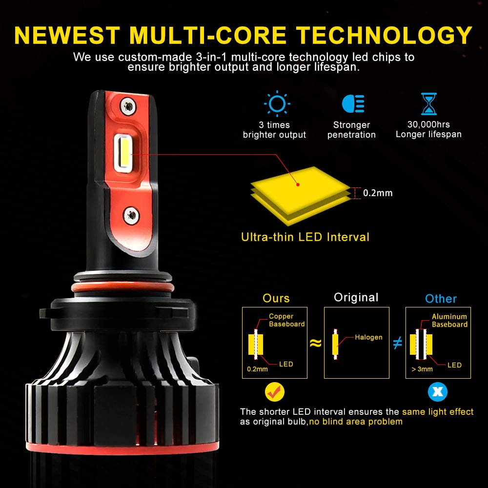 AUXITO-9012 HIR2 LED Headlight Bulbs Newest Beam Adjustable Fanless Design 9000 Lumens Super Bright All-in-One Headlight Fog Light Lamp Conversion Kit 6000K White 2 Years Warranty