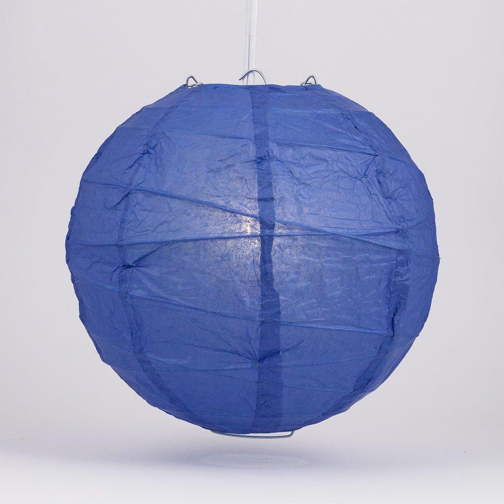 Quasimoon PaperLanternStore.com 14'' Dark Blue Round Paper Lantern, Crisscross Ribbing, Hanging Decoration