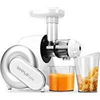 SimpleTaste Masticating Juicer, Slow Extractor BPA Free with Quiet Motor & Cleaning Brush for High Nutrient Fruit and Vegetable Juice, White, 34.5cm25cm26.8cm