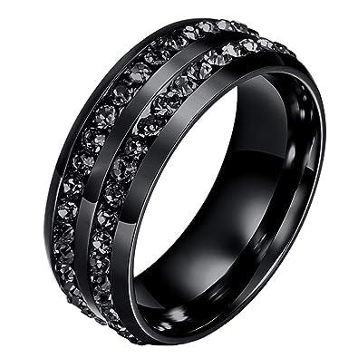 Sainthero Mens Womens 8mm Wedding Bands Engagement Ring 18k Black