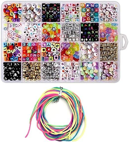 1400 cuentas de letras variadas con letras del alfabeto en estuche de almacenamiento para niños, para manualidades, joyas, pulseras, collares, collares con cuentas de colores incluidos: Amazon.es: Hogar