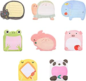 Bonaweite 8-Packs Self Sticky Notes in Different Shapes, Creative Colorful Animal Super Sticky Memo Notes for Students Home Office -Easy Post and Use