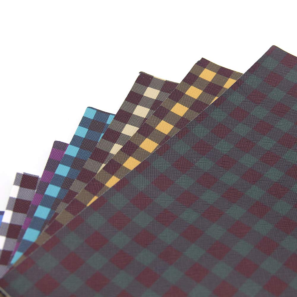 20 cm x 34 cm Plaid Pattern B for Bags Earrings Making DIY Projects David Angie Plaid Printed Faux Leather Fabric Sheet 9 Pcs 8 x 13