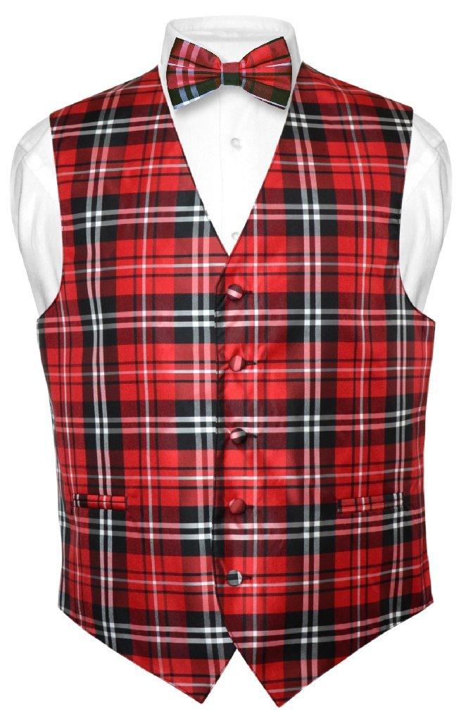 Men's Plaid Design Dress Vest & BOWTie Black Red White BOW Tie Set Large by Vesuvio Napoli