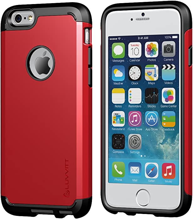 iPhone 6/6s Case, LUVVITT [Ultra Armor] Shock Absorbing Case Best Heavy Duty Dual Layer Tough Cover for Apple iPhone 6 / iPhone 6s (4.7) - Black/Red