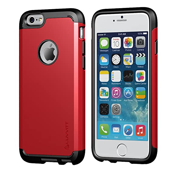 separation shoes 4a57f 470a2 iPhone 6/6s Case, LUVVITT [Ultra Armor] Shock Absorbing Case Best Heavy  Duty Dual Layer Tough Cover for Apple iPhone 6 / iPhone 6s (4.7) - Black/Red