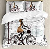 Teen Room Decor Duvet Cover Set King Size by Ambesonne, Young Girl in Paris Streets with Bike French Display, Decorative 3 Piece Bedding Set with 2 Pillow Shams, Chestnut and Light Brown Pearl