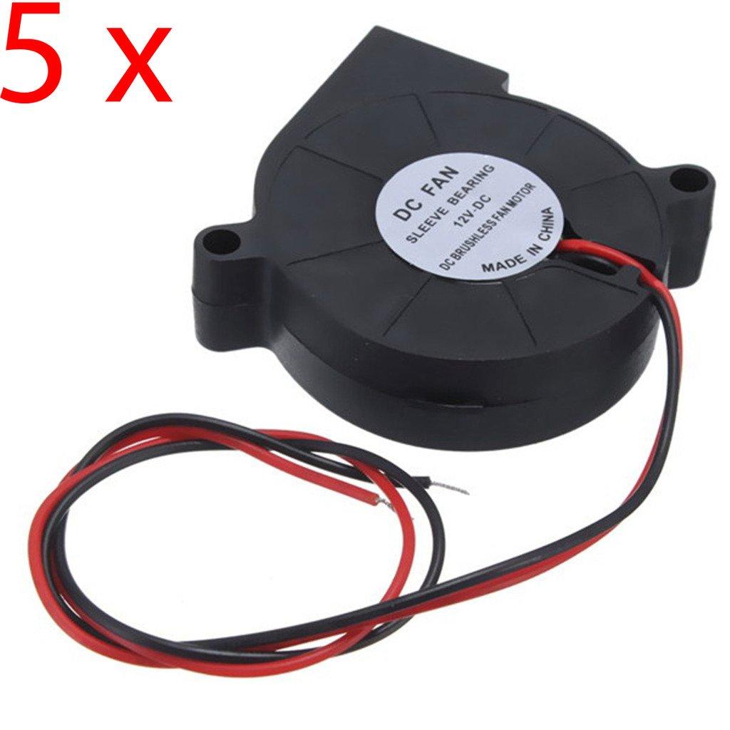 DAOKI 5PCS 12V DC 50mm Blow Radial Cooling Fan Hotend/Extruder for RepRap 3D Printer