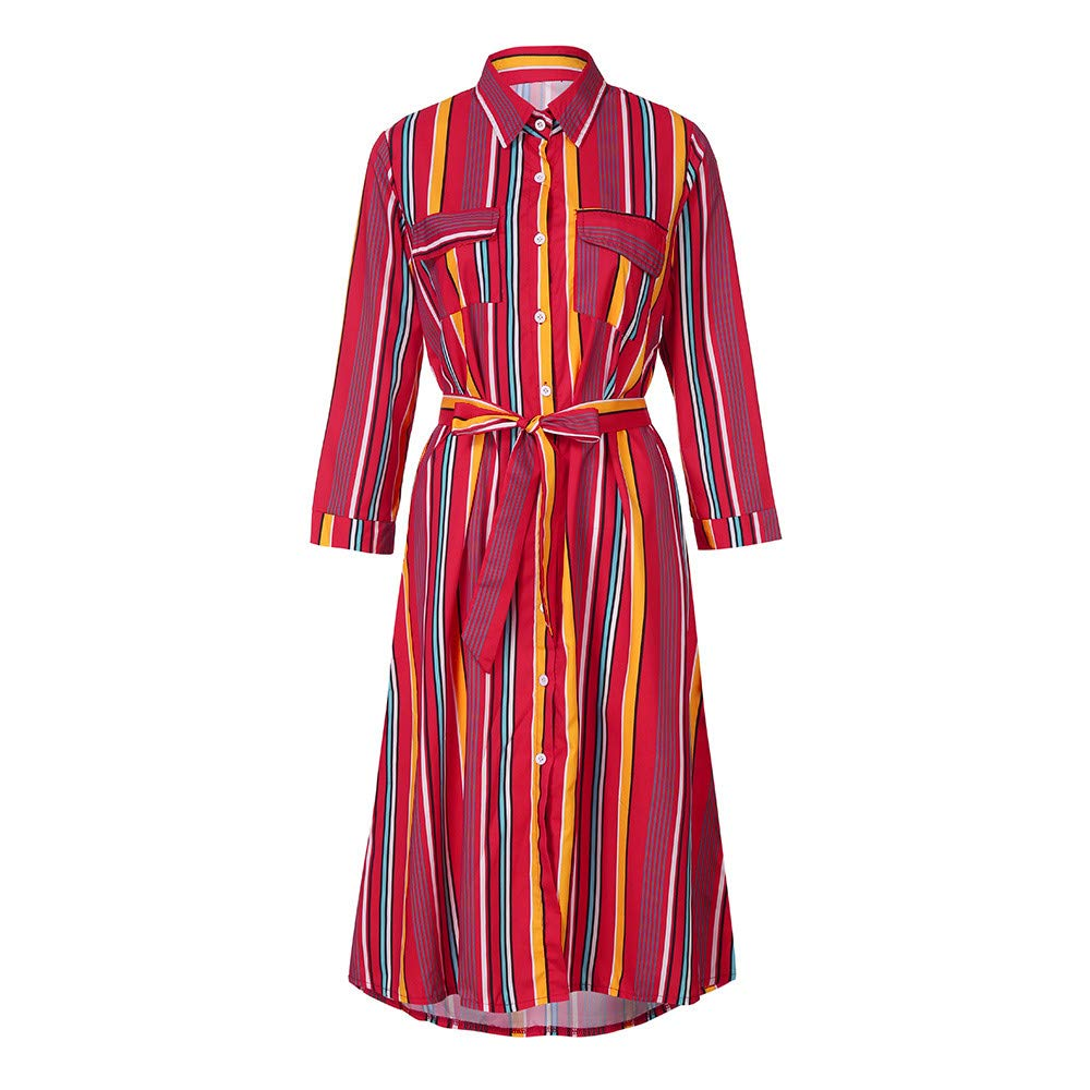 Spbamboo Womens Long Sleeve Striped Multicolor Loose Button Bohe Dress With Belt by Spbamboo