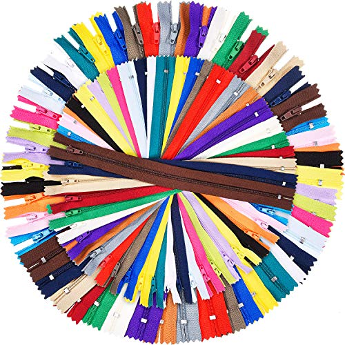 Shappy 9 Inch and 12 Inch Zippers Sewing 25 Colors Nylon Coil Colorful Zippers Bulk for Sewing Crafts, 100 Pieces