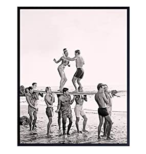 Surfers Dance Party Vintage Style Wall Art Photo - Retro 8x10 Home, Office or Apartment Decor, Beach House or Room Decoration - Unique Gift for Surfing Fans