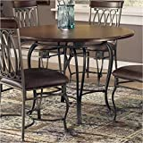 Hillsdale Montello Round Dining Table with 45-Inch Diameter Faux Wood Top, Old Steel Finish