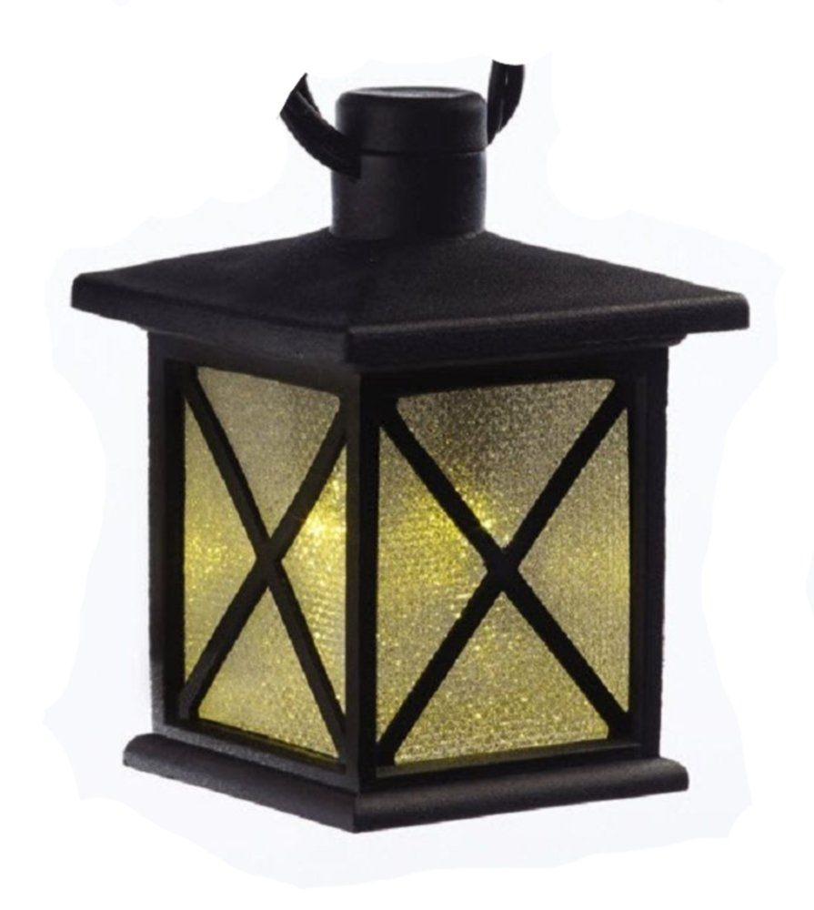 10 LED Warm White Black Lantern Cube Lights on Black Wire LG Sourcing