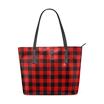 4f411595d42b Image Unavailable. Image not available for. Color  Women PU Leather Tote  Black Red Buffalo Plaid Shoulder Bag