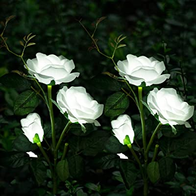 Solar Garden Lights Yard Decorations Solar Rose Flower Lights with 6 Rose Flowers Waterprrof for Garden Patio Yard Pathway Decoration (2 Pack White)