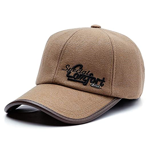 GESDY Men s Winter Warm Wool Felt Baseball Cap Earmuffs Outdoor Sports  Casual Earflaps Hat Strapback Adjustable at Amazon Men s Clothing store  7377e1583e8