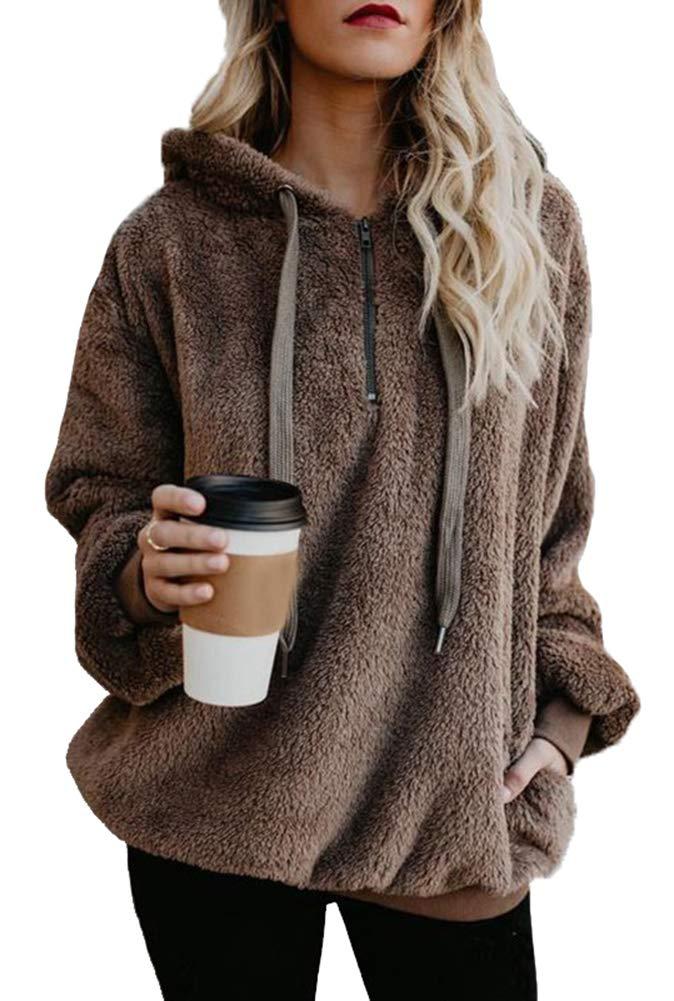 Women's Fleece Pullover Long Sleeve Sherpa Sweatshirt Fuzzy Outerwear Hoodie Zip Up Coat with Pockets Brown,2XL