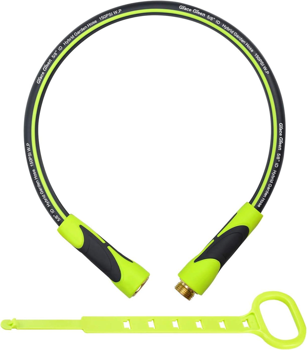 Grace Green Lead in Hose,Hybrid 5/8 in.×3FT Short Garden Hose, Extension Hose, Both End SwivelGrip, Heavy Duty, Light Weight, Flexible