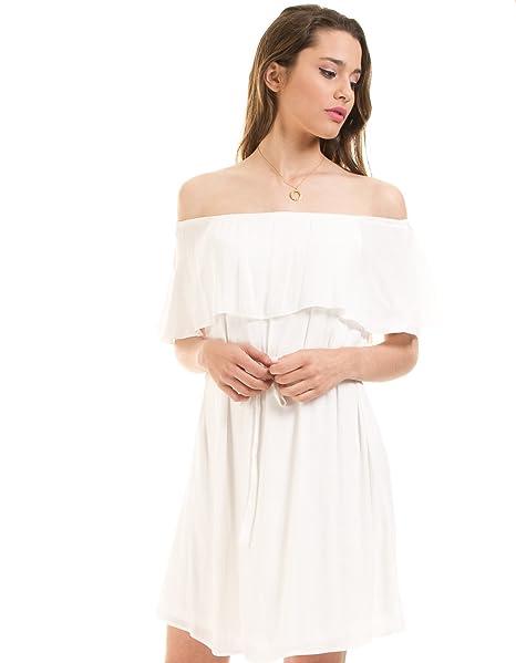 Only Vestido ibicenco Volante Blanco (Blanco - 40)