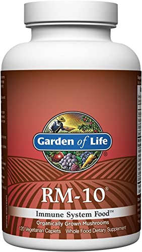 Garden of Life Organic Fermented Mushroom Complex – RM-10 Immune System Supplement with Selenium, Vegetarian, 120 Caplets