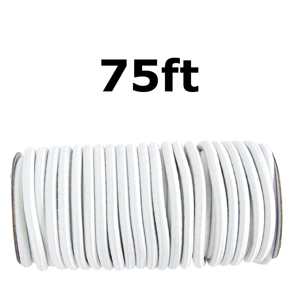 75ft 1/4'' White Shock Cord Marine Grade Bungee Heavy Duty Tie Down Stretch Rope