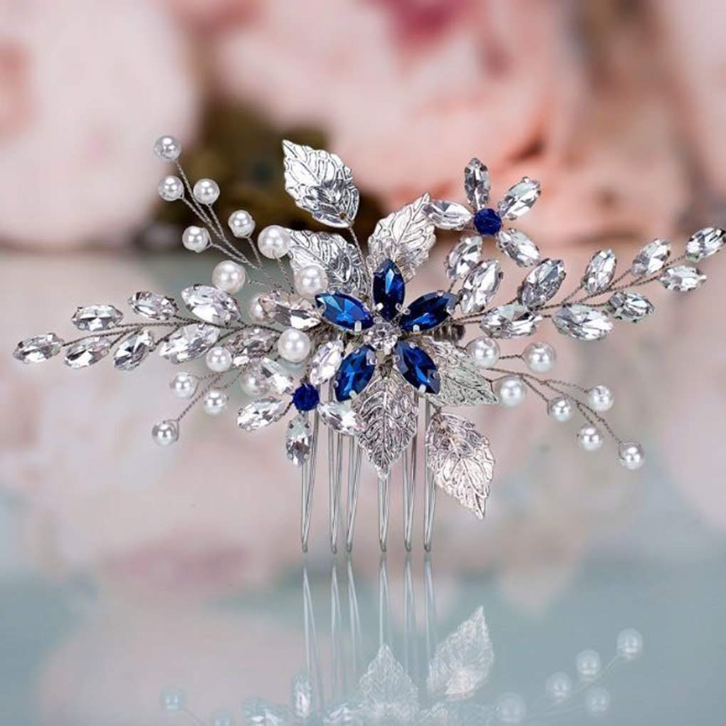 Olbye Wedding Hair Comb Blue Rhinestone Bridal Hair Accessories for Bride and Bridesmaids Wedding Hair Piece Silver by Olbye (Image #6)