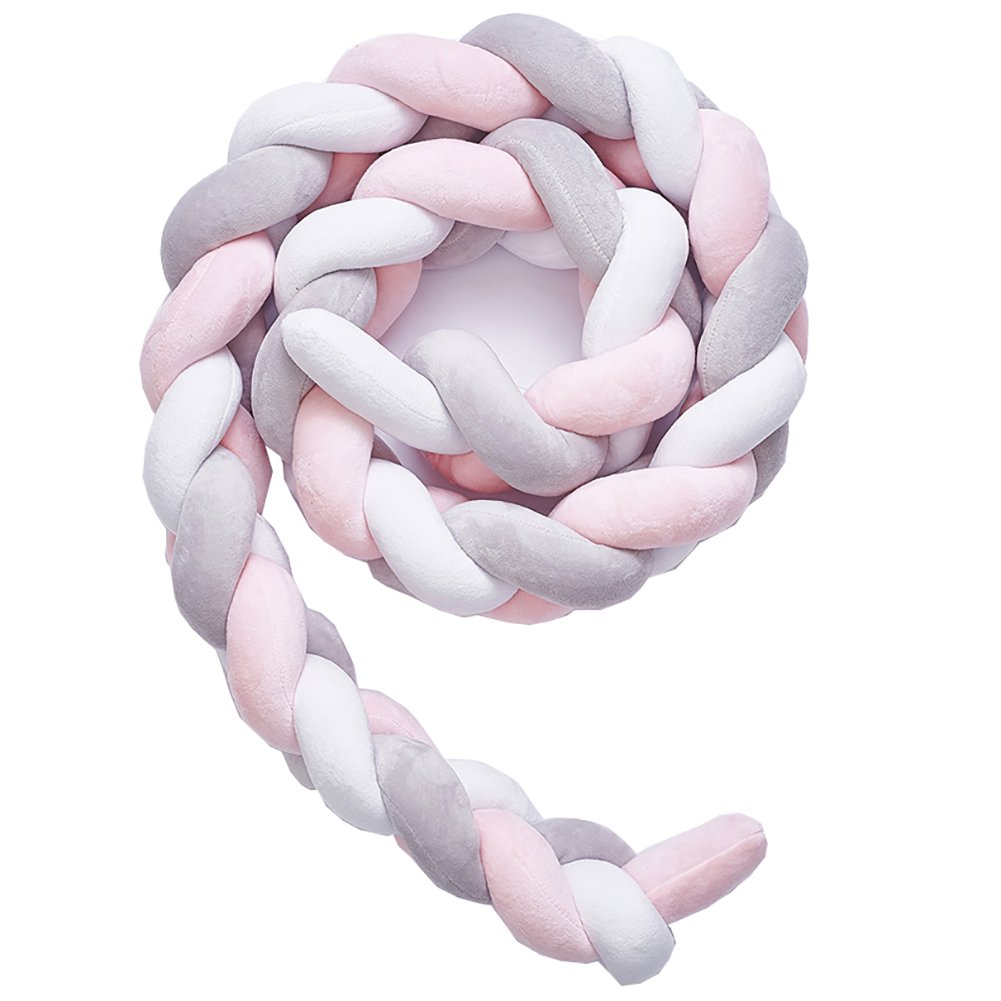 Soft Knot Pillow Decorative Baby Bedding Sheets Braided Crib Bumper Knot Pillow Cushion (White+Gray+Pink, 157.48 inch)