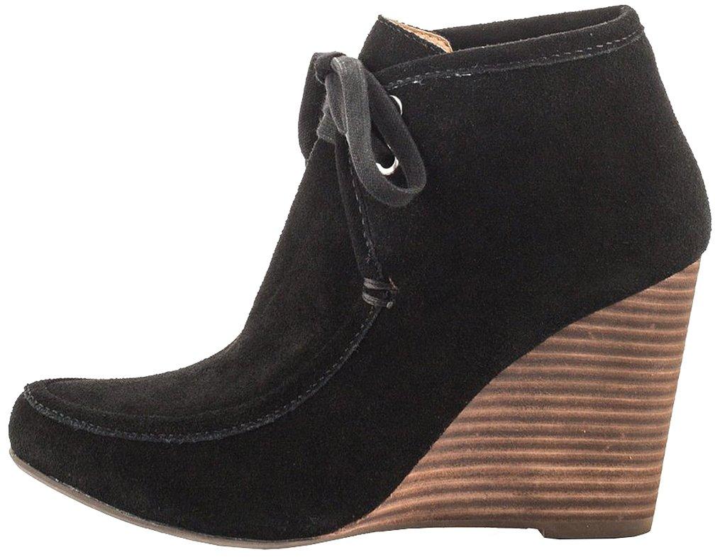 Calaier Mujer Calucky Tacón De Aguja 8CM Sintético Con Cordones Botas Zapatos40.5|Negro