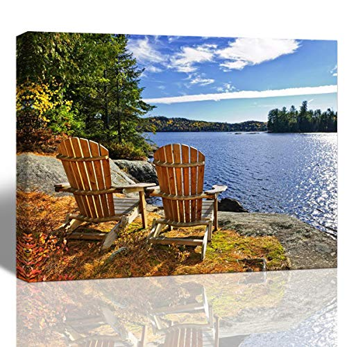 Beach and Seascape One Piece Modern Canvas Wall Art for Home Decoration, Canvas Print Adirondack Chairs At Lake Shore Photograph, Stretched and Framed, Ready to Hang,1216inch ()