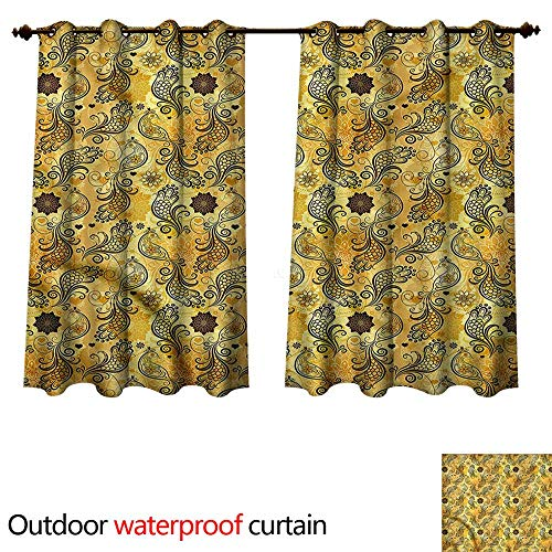 cobeDecor - Cortina para patio o exterior, diseño de lunares, color amarillo y café, color13, W72' x L63'