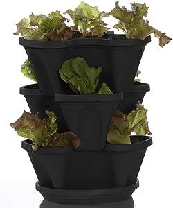 Self Watering Planter - Mini Garden Stacker - Stackable - Hangable - Indoor - Outdoor - Stacking Plant & Flower Pot - Color: Black