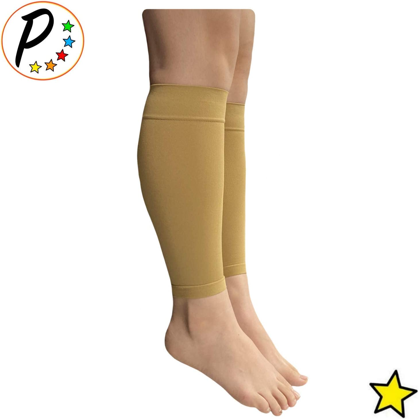 Presadee Shin 8-15 mmHg Mild Compression Leg Fatigue Circulation Calf Sleeve Nude, 3XL