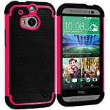 Cell Accessories For Less (TM) Black / Hot Pink Hybrid Rugged Hard/Soft Case Cover for HTC One M8 Bundle (Stylus & Micro Cleaning Cloth) - By TheTargetBuys