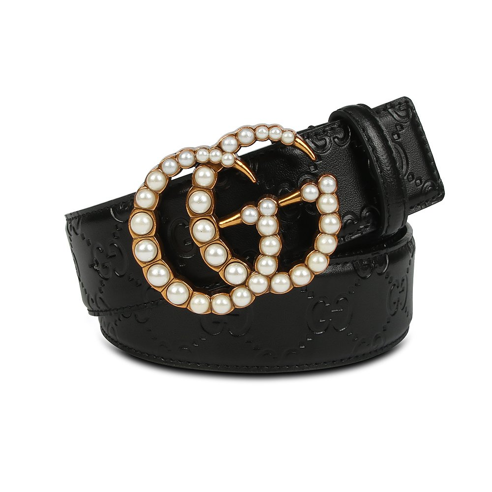 GG Genuine Leather Belt with Diamond/Pearl, Designer Business Casual Belt for Women