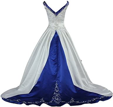 ANTS Womens V Neck Blue Satin Embroidery Wedding Dress Bride at Amazon Womens Clothing store: