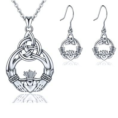 6e40a5a07 AEONSLOVE 925 Sterling Silver Celtic Knot You are My Only Love Drop Earring  Pendant Necklace,