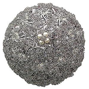 Lazacos Luxury Silver Rhinestone Crystal Pearls Brooch Wedding Bride Bridesmaid Holding Bouquet Decor Gift 106