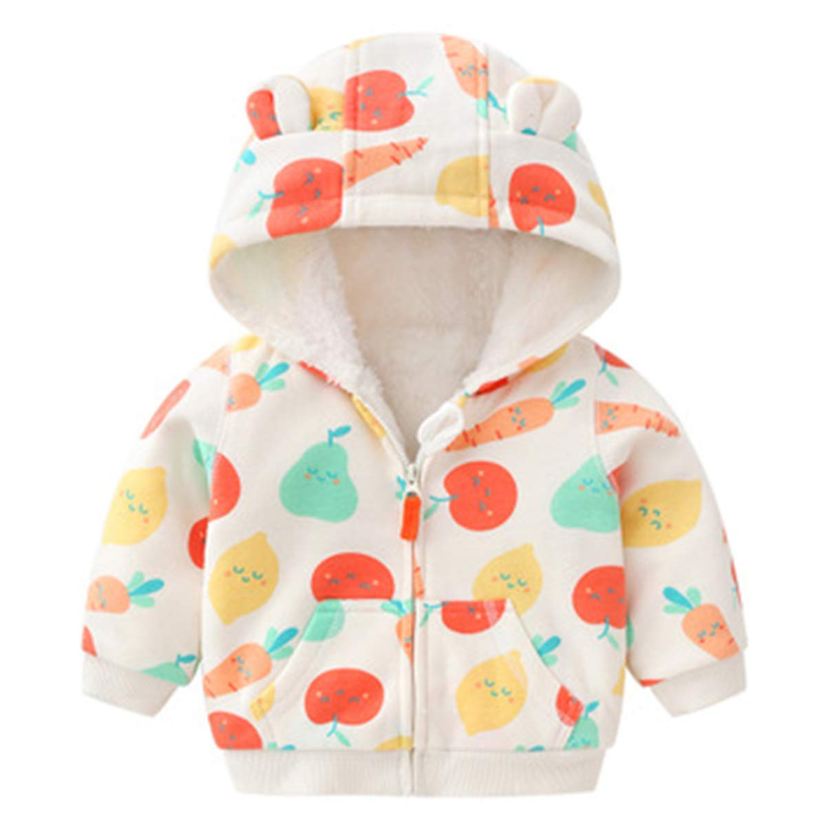 Kanodan Baby Boys Girls Hooded Winter Jacket Warm Sweatshirt Coat Fleece Lined