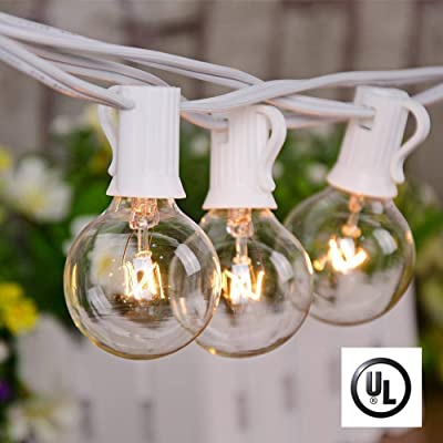 Afirst Outdoor String Lights 25Ft Patio String Lights with 25 Edison Bulbs UL Listed Incandescent String Lights Garden/Backyard Party/Wedding Indoor String Lights-White Cord : Garden & Outdoor
