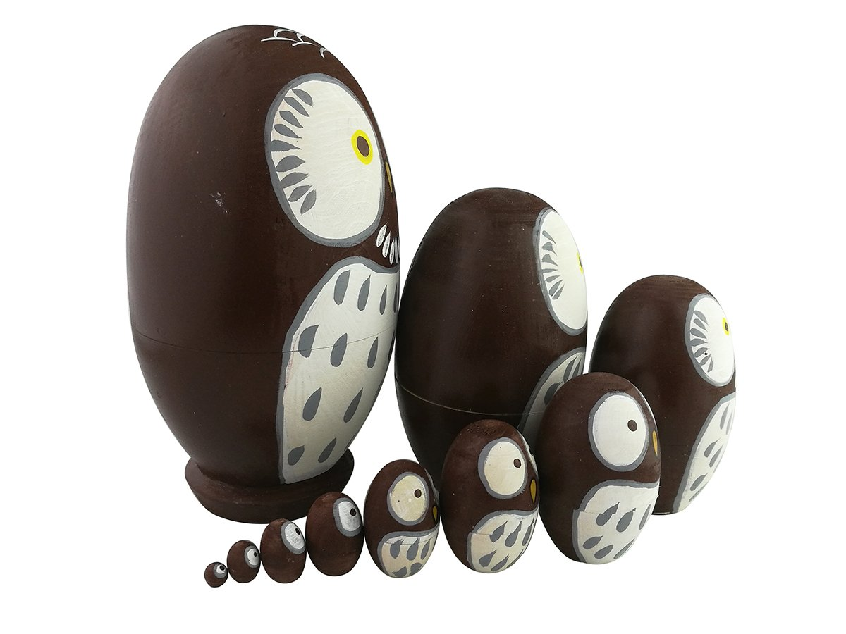 Adorable Lovely Animal Theme Big Round Eyes Brown Wise Owl Egg Shape Wooden Handmade Nesting Dolls Matryoshka Dolls Set 10 Pieces for Kids Toy Birthday Home Kids Room Decoration by Winterworm (Image #3)