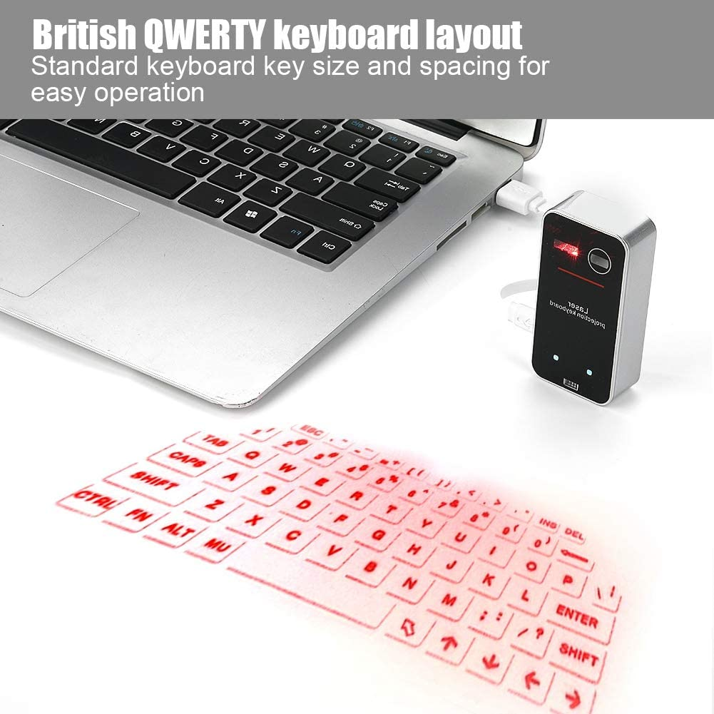 ASHATA Teclado Virtual portátil Bluetooth, Mini Wireless Bluetooth Proyector Teclado Interfaz USB con función de Mouse, Teclado de proyección Mouse ...