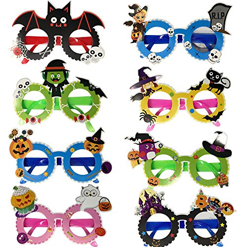 Halloween Party Favor Decoration Funny Glasses Frame with Pumpkin Witch Ghost Bat Styles for Kids, Pack of 8