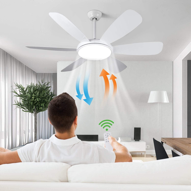 Albrillo Ventilador de Techo LED con LUZ - Ventilador Súper Silencioso de 91W, 3 Temperaturas de Colores y 6 Velocidades del Viento Ajustables, Temporizador y Función de Inversión, Ø 132cm para Salón
