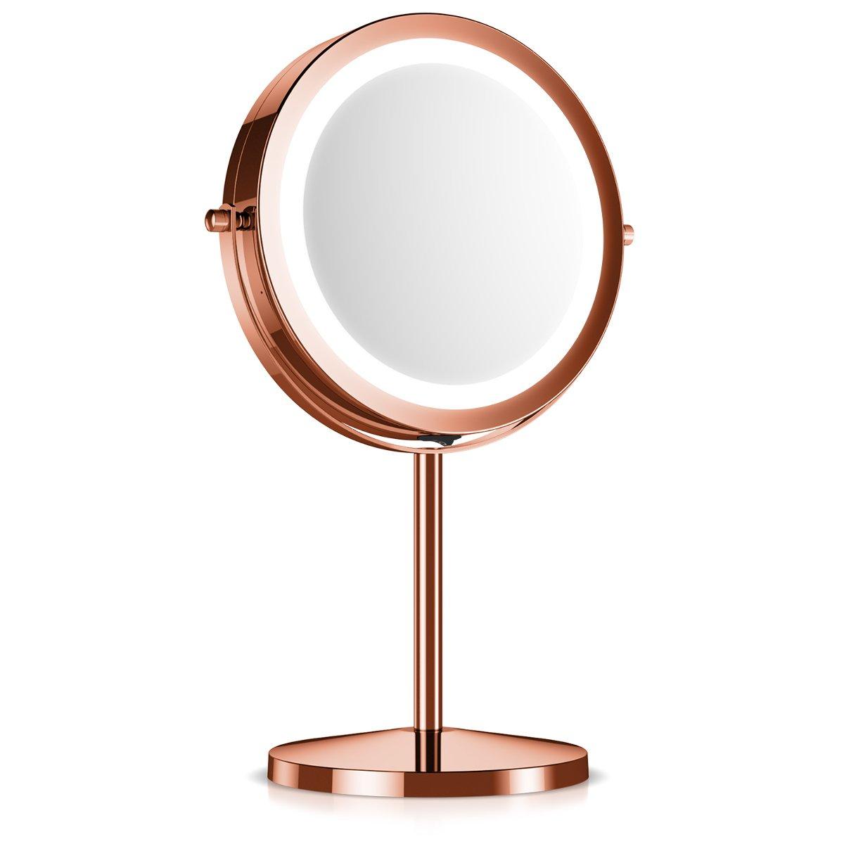 Navaris specchio ingrandente rotondo con LED - ingranditore 5x per il trucco rasatura da appoggio con luce integrata 17 LED - girevole 360° argento KW-Commerce 41188_m000765