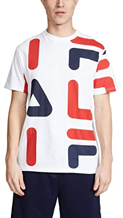 90a46f74b3f9 Fila Men's Bennet Tee, White/Chinese Red/Peacoat, Small