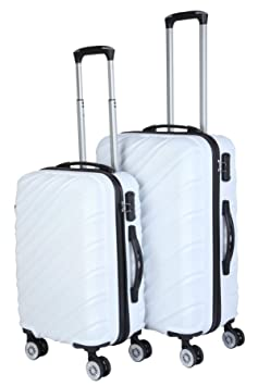 3G Combat 8016 Series 4Wheel Hard Sided Luggage White ABS Trolley Travel Bags Suitcase (20 and 24 Inch) -Set of 2