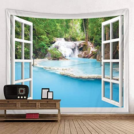 Hippie Landscape Waterfall Tapestry Wall Hanging Hippie Home Art Decor Xmas Gift